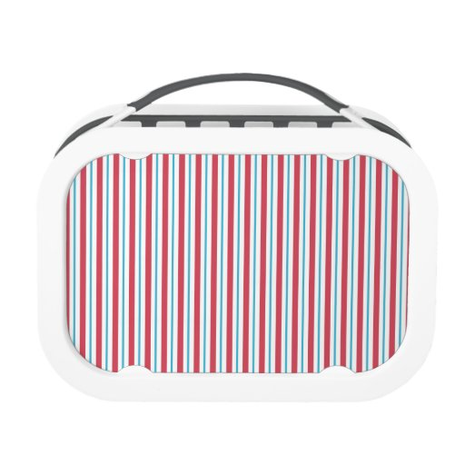 Red, White, and Blue Vertical Stripes Yubo Lunch Boxes