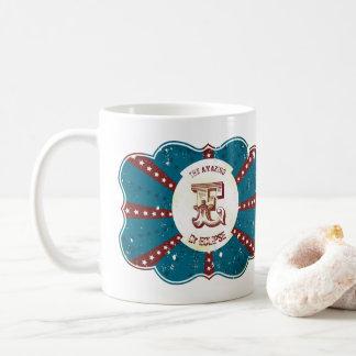 "Red White and Blue Vintage Circus Monogram ""E"" Coffee Mug"