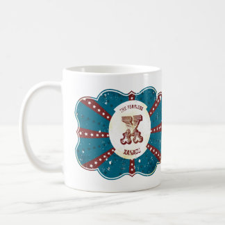 "Red White and Blue Vintage Circus Monogram ""X"" Coffee Mug"