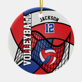 Red, White and Blue Volleyball Christmas Ornament