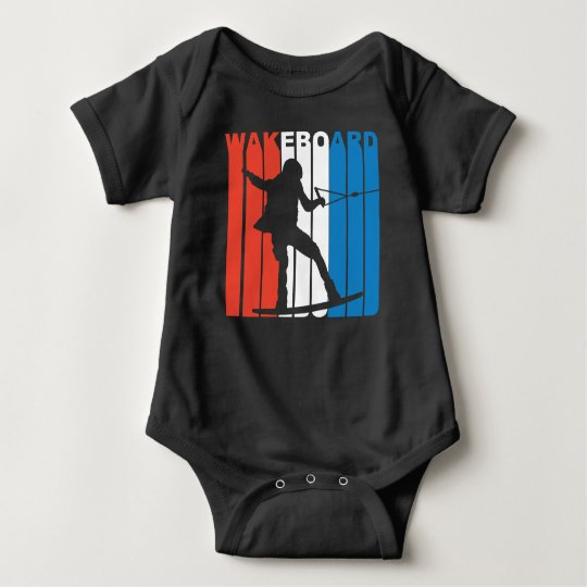 Red White And Blue Wakeboard Wakeboarding Baby Bodysuit