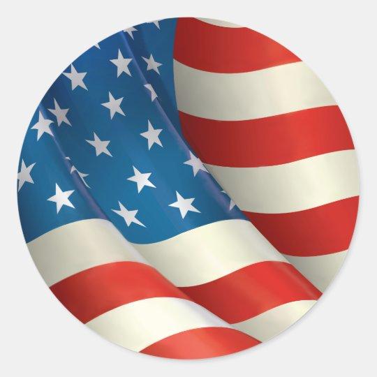 Red White and Blue Waving U.S. Flag Classic Round Sticker