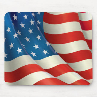Red White and Blue Waving U.S. Flag Mouse Mat