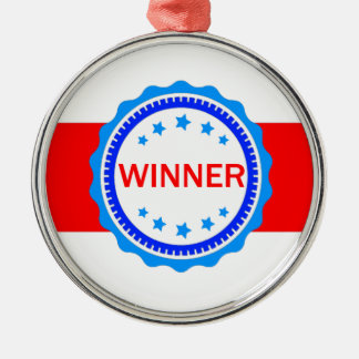 Red, White and Blue Winner Ribbon Silver-Colored Round Decoration
