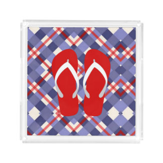 Red, White and Blue with Flip Flops Acrylic Tray