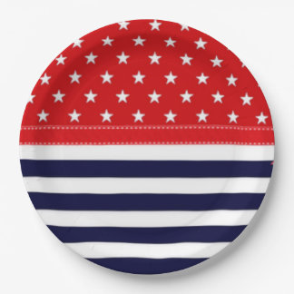 Red White and Blue with White Stars & Stripes 9 Inch Paper Plate