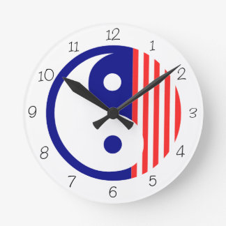 Red, White and Blue Yin Yang Round Clock