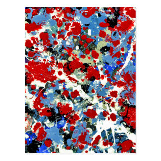 RED, WHITE AND BLUES ~ (abstract art design) ~ Postcard