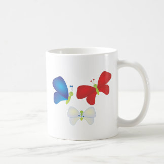 Red,White and Butterflies Basic White Mug