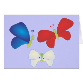 Red, White and Butterflies Greeting Card
