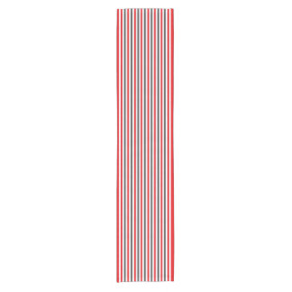 Red White and Charcoal Gray Stripes Short Table Runner