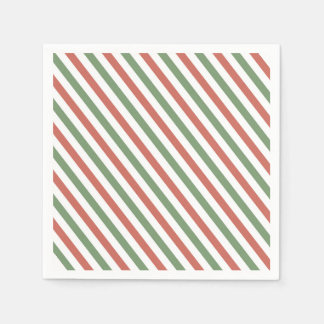 Red, White and Green Holiday Stripes Paper Napkins