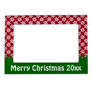 Red White and Green Snowflake Personalized Magnetic Frame