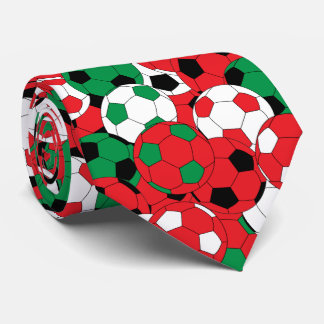 Red, White and Green Soccer Ball Collage Tie