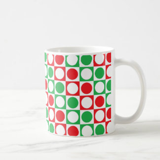 Red, White and Green Squares and Polka Dots Coffee Mug