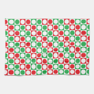 Red, White and Green Squares and Polka Dots Tea Towel