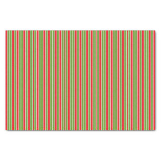 """Red, White and Green Stripes 10"""" X 15"""" Tissue Paper"""