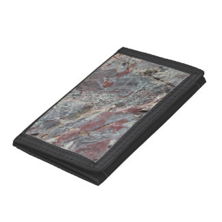 Red White and Mossy Mineral Texture Tri-fold Wallets