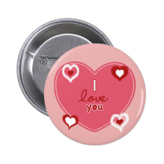 Red, White and Pink Hearts 6 Cm Round Badge