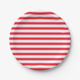 Red, White and Pink Stripes 7 Inch Paper Plate