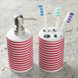 Red, White and Pink Stripes Soap Dispenser And Toothbrush Holder