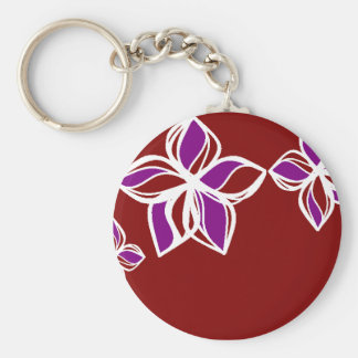 Red white and Purple Flower Keychain