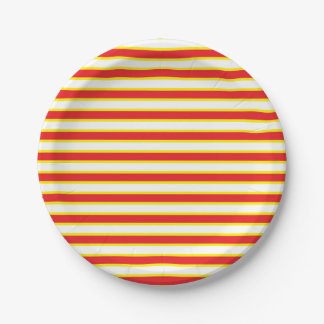 Red, White and Yellow Stripes 7 Inch Paper Plate
