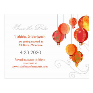 Red & White Asian Lanterns Save the Date Postcards