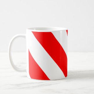 Red White Attention Warning Stripes Basic White Mug
