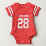Red White Baby Football Sports Jersey Romper Baby Bodysuit