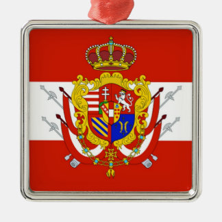 Red White Banner Grand Duchy of Tuscany Silver-Colored Square Decoration