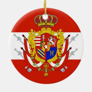 Red White Banner Grand Duchy of Tuscany Round Ceramic Decoration