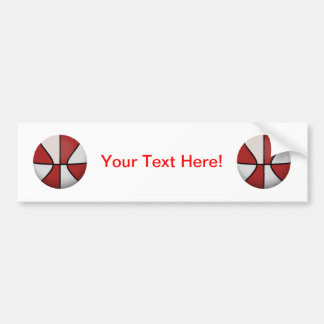 Red & White Basketball: Car Bumper Sticker