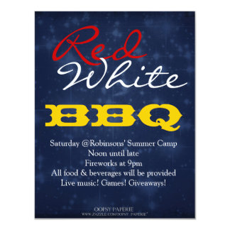 """""""Red White BBQ"""" July 4th BBQ Party Invitation"""