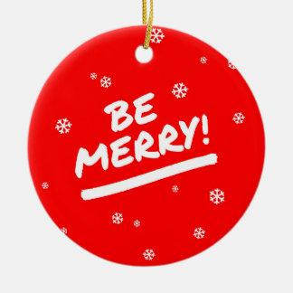 Red+White Be Merry + Custom Message Snowflake Round Ceramic Decoration