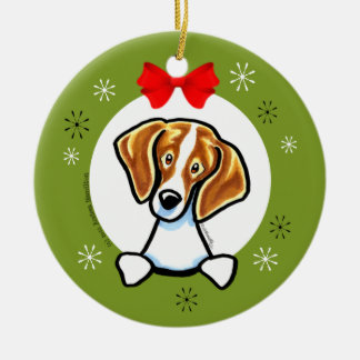 Red White Beagle Christmas Classic Christmas Ornament