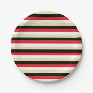 Red, White, Beige and Black Stripes Paper Plate