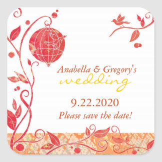 Red White Bird Cage Save the Date Wedding Sticker