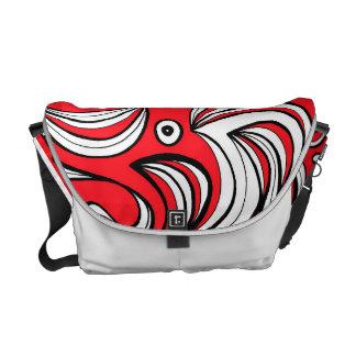 Red White Black Abstract Messenger Bag