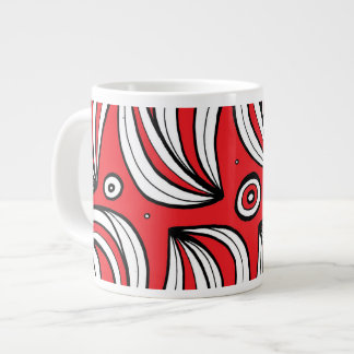 Red White Black Abstract 20 Oz Large Ceramic Coffee Mug