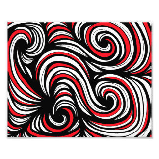 Red White Black Abstract Photo Print