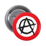 Red, White & Black Anarchy Flag Sign Symbol Button