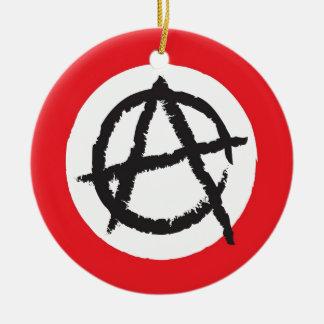Red, White & Black Anarchy Flag Sign Symbol Christmas Ornament