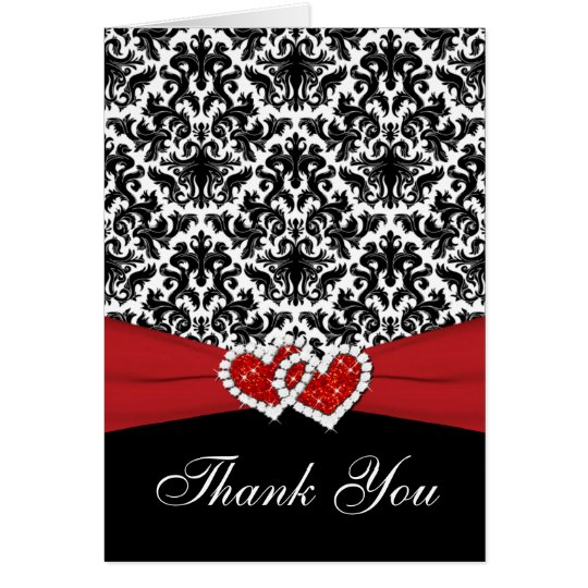 Red White Black Damask, Hearts Thank You Card