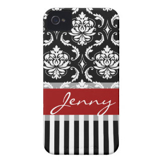 Red, White, Black Damask Stripes iPhone 4 Case-Mate Case