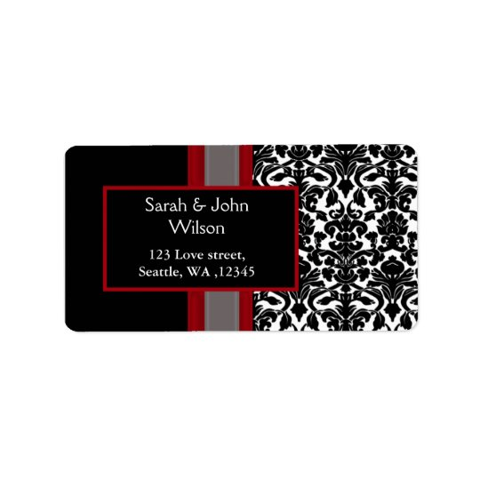 Red White Black Damask Wedding Invitations Address Label