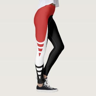 Red/White/Black Detail Pattern Leggings 4