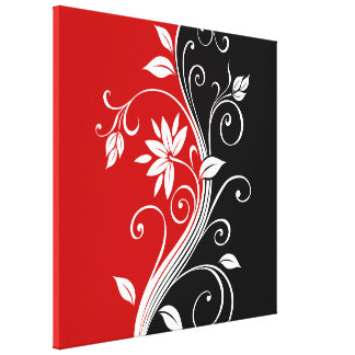 Red  White & Black Floral Canvas Print