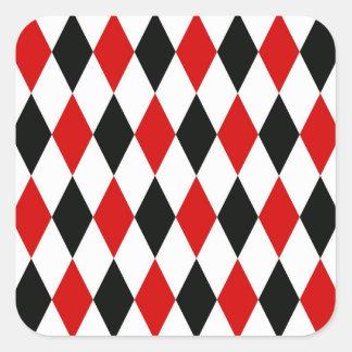 Red White Black Harlequin Diamond Pattern Stickers