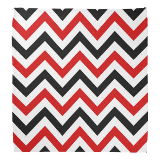 Red, White, Black Large Chevron ZigZag Pattern Bandannas